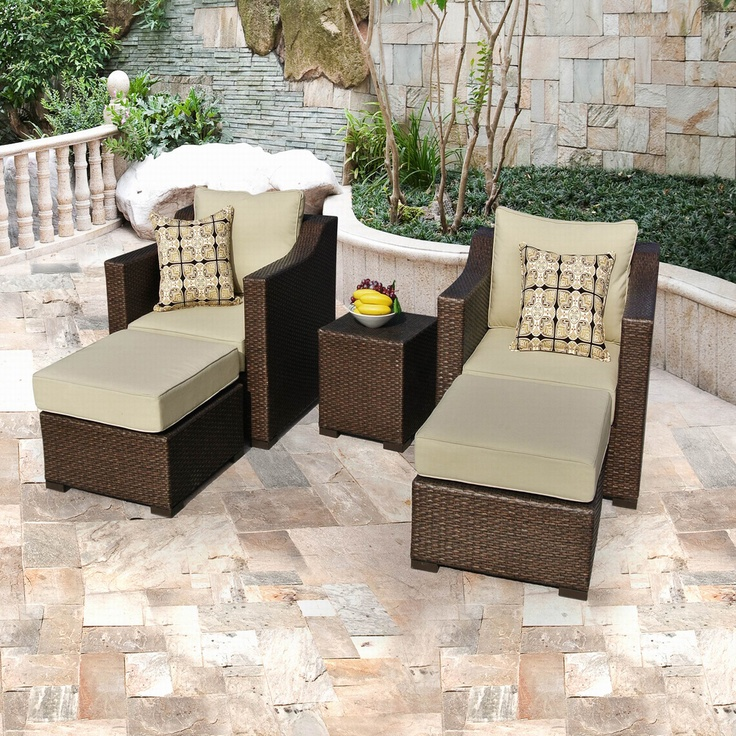 Five Piece Wicker Outdoor Furniture Set | Overstock.com
