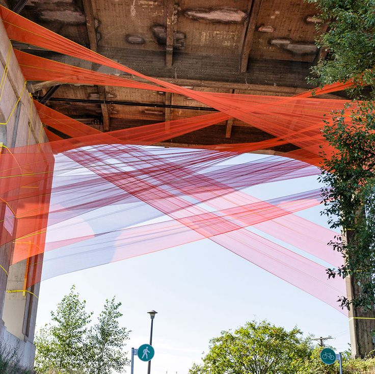 construction netting gets re-contextualized in city fabric installation