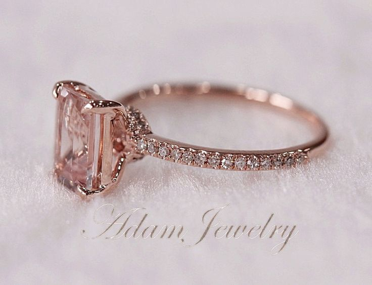 Pink Emerald Cut Vs Morganite Ring Si H Diamonds By