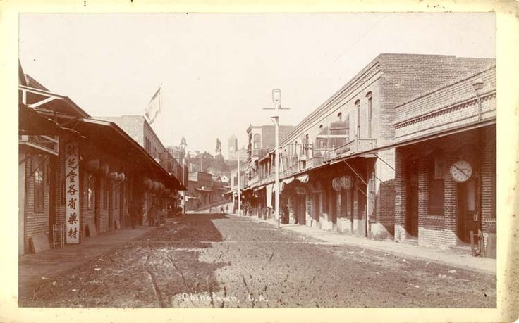 Chinatown with Fort Moore Hill in background, William H. Fletcher, 1890 | Los Angeles High School on Fort Moore Hill and possible glimpse of Hancock Banning house just to the left of the school. The California History Room, California State Library