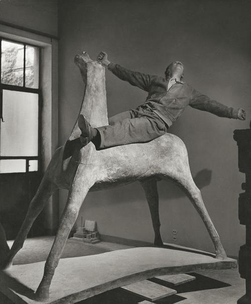 artist Marino Marini in his studio ,1952 Photo by Herbert List