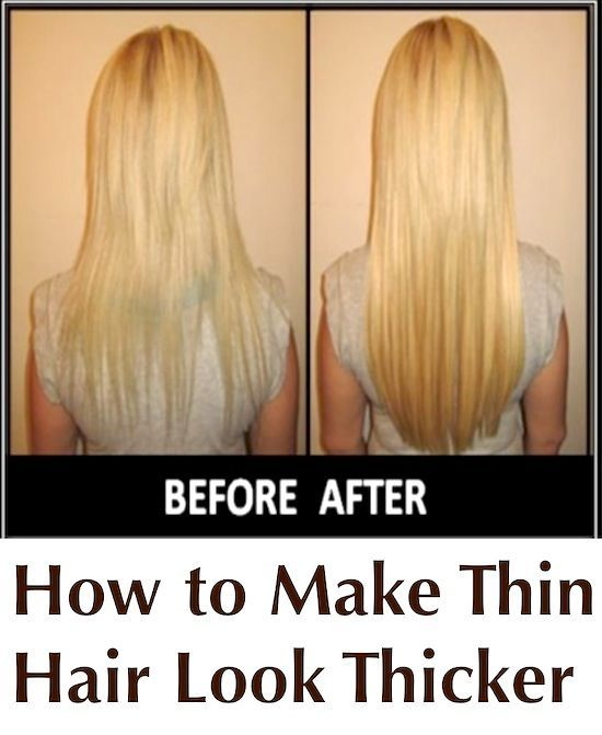 How to Make Thin Hair Look Thicker - PositiveMed  Try a protein hair treatment, the best ingredient to use is egg. Take 1 or 2 eggs, depending on length of hair & beat them well. Apply to wet hair & leave in for 5 to 10 mins. Wash hair in lukewarm water with shampoo. This treatment can be done 3 to 4 times weekly. Add the gel from 1 or 2 leaves of ALOE VERA once a week for an extra boost.