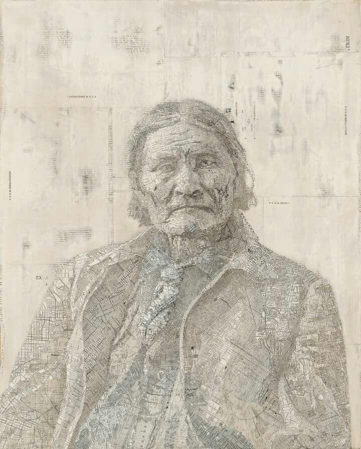 Matthew Cusick (USA) - Geronimo, 2007. Collage con mapas y páginas de atlas sobre tabla, 86.2 x 60.96 cm