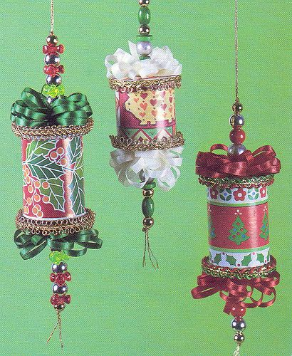 thread spool ornaments, every one is different.
