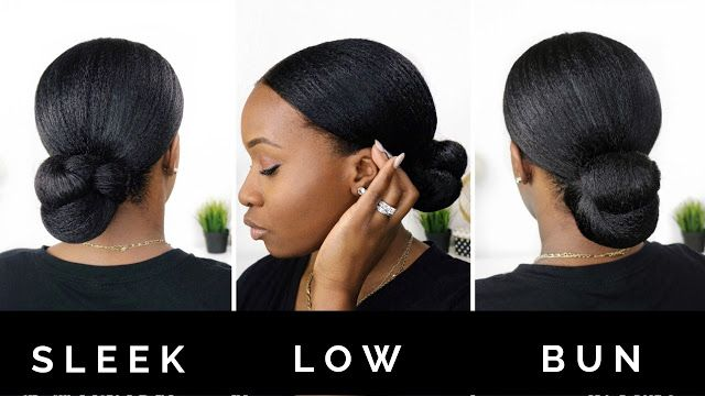 Hairlicious Inc Sleek Low Bun Protective Style Protective Style Braids Natural Hair Bun Styles Natural Hair Styles