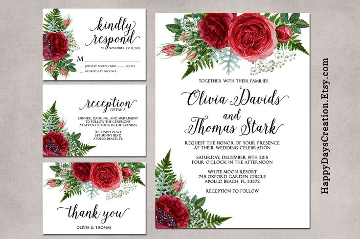 Winter Wedding Invitation, Christmas Wedding Invitation, Christmas Floral Wedding Invitations, Rustic, Bohemian Wedding Set by SunnyDaysCreation on Etsy https://www.etsy.com/listing/225175624/winter-wedding-invitation-christmas