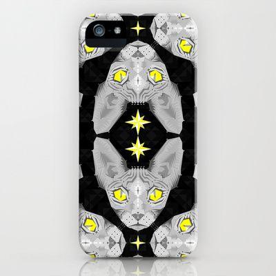 Sphynx Cat Black Pattern iPhone & iPod Case by chobopop - $35.00