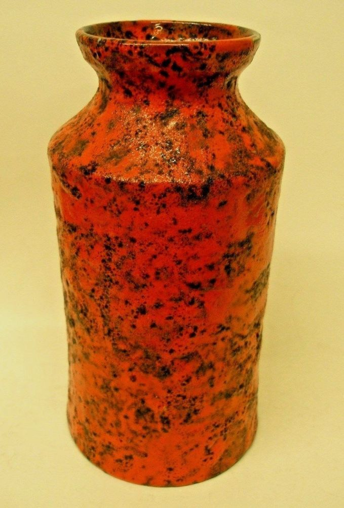 A.R.N. MID-CENTURY ITALIAN ART POTTERY VASE RAYMOR #1405 ABSTRACT ORANGE ITALY FAT LAVA