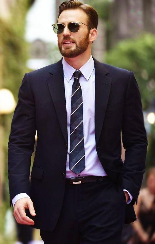 Chris Evans' perfect hair + beard + retro shades