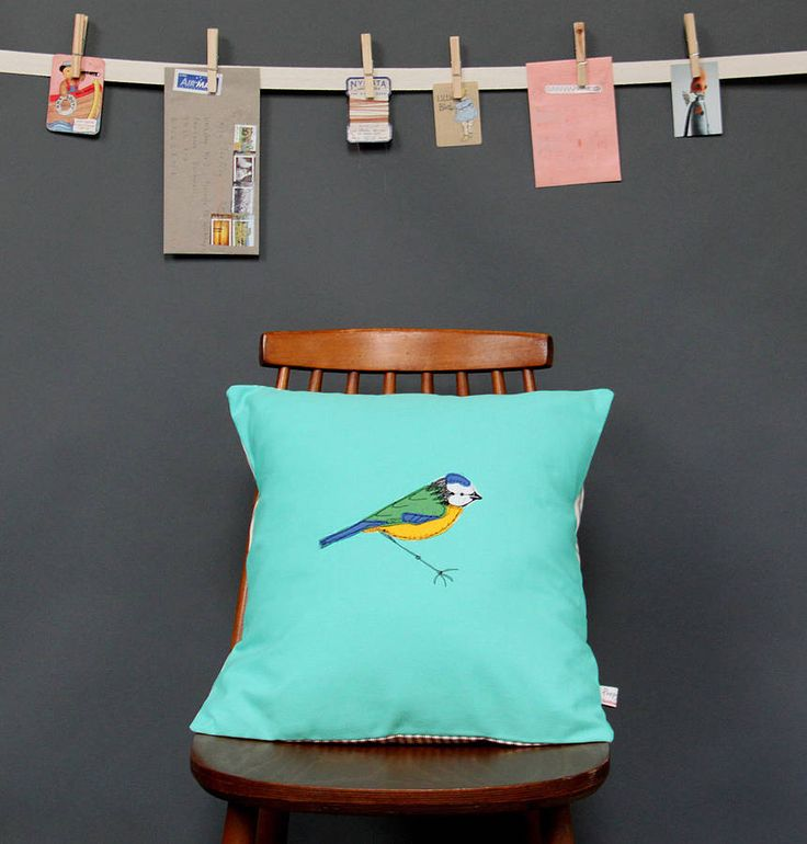 embroidered cushion blue tit by poppy treffry | notonthehighstreet.com