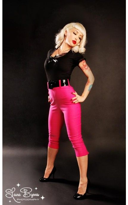 Deadly Dames- Capri Pants in Hot Pink Bengaline | Pinup Girl Clothing