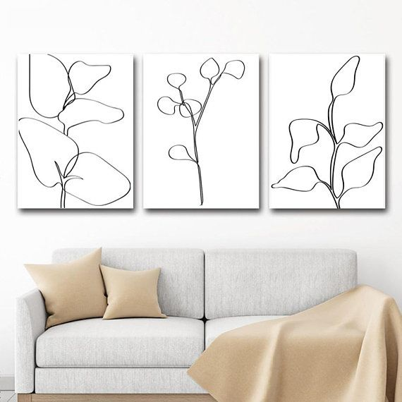 Leaves Line Art Leaf Drawing Set Of 3 Prints Eucalyptus Art Etsy In 2020 Wall Art Decor Living Room Printable Wall Art Living Room Minimalist Wall Art #prints #for #the #living #room