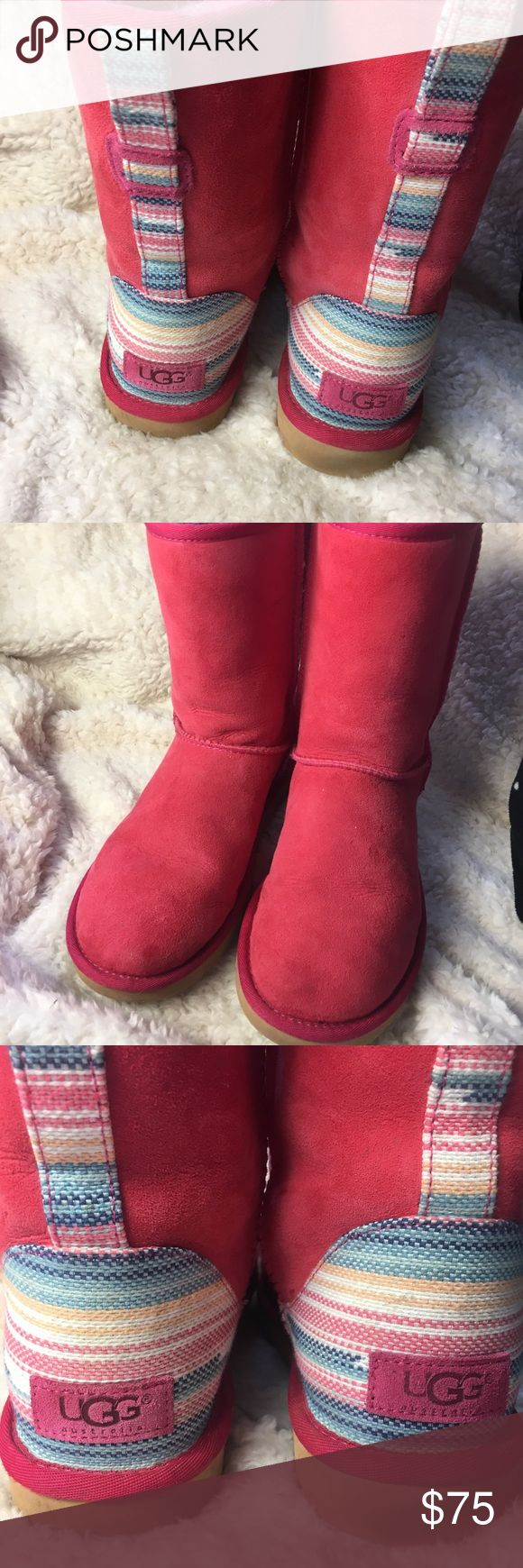 Pink Ugg's size 8 women's with stripe detail Cute gently worn size 8 women's Uggs with striped fabric on back of boots. UGG Shoes Winter & Rain Boots
