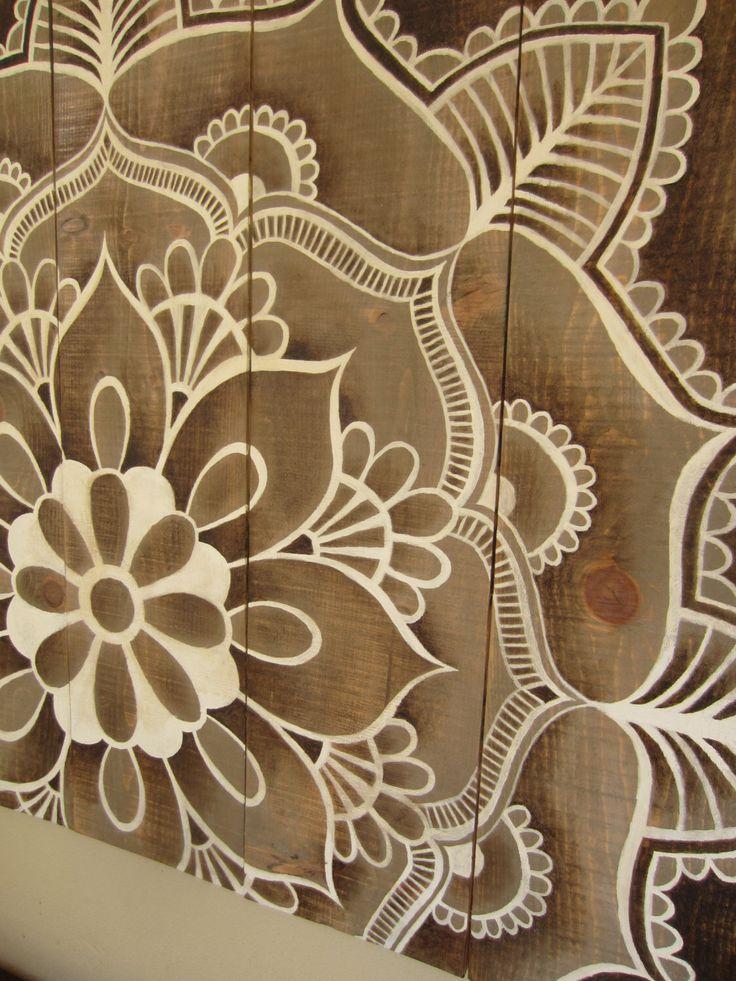 Mandala artwork on rustic wood, original hand painted. Size: 37 x 39 inch (94 x 99 cm). door MadeByCreadore op Etsy https://www.etsy.com/nl/listing/261845924/mandala-artwork-on-rustic-wood-original