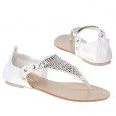 Dames sandaal - wit - zilver