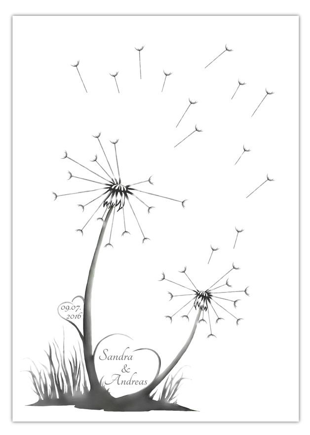 Die Fingerabdruck-Pusteblume eignet sich super als Alternative zum gewöhnlichen Gästebuch für die Hochzeit. Jeder Gast hinterlässt seinen Fingerab…