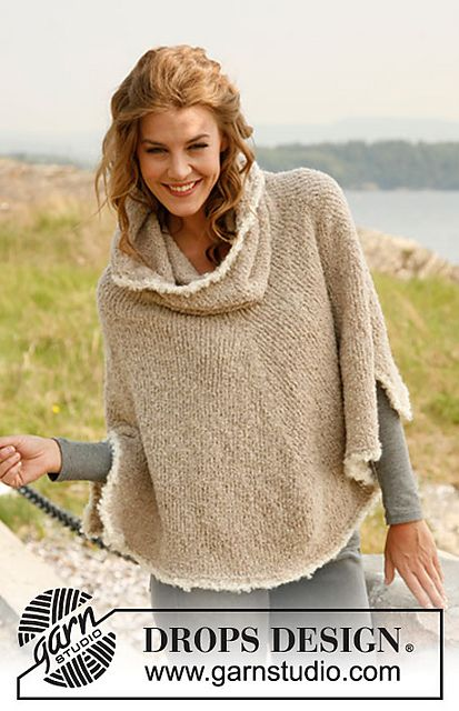 """Ravelry: 133-4 """"Robin"""" - Poncho with large collar in Alpaca Bouclé pattern by DROPS design"""