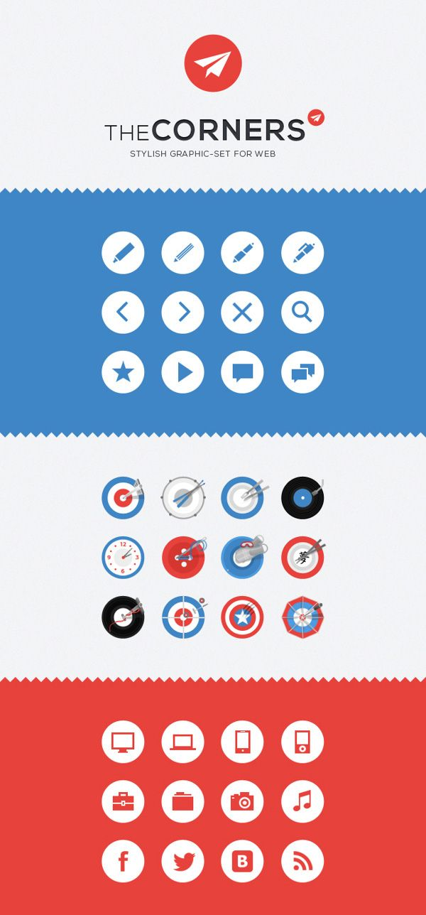The Corners. Stilish Graphic Set for Web (36 Icons)