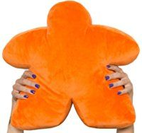 Orange Meepillow - The Meeple-Shaped Plush Pillow! Perfect for fans of board games like Werewolf, Mafia, Resistance, Avalon, Mascarade, Coup, Bang!, Spyfall, Good Cop Bad Cop, & more!