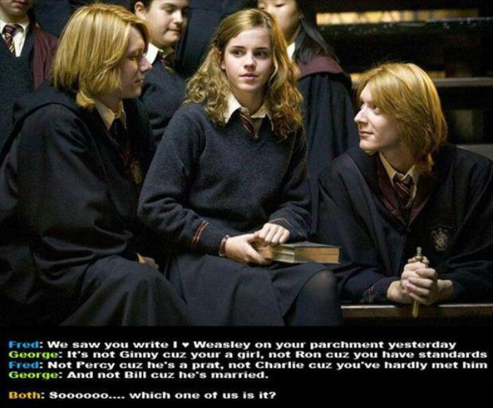 Harry Potter Humor. JK has said she originally planned on having hermione and Fred end up together.