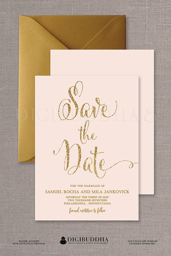 Blush Pink & Gold Save The Date Cards in gold glitter shown with gold shimmer envelopes available at digibuddha.com