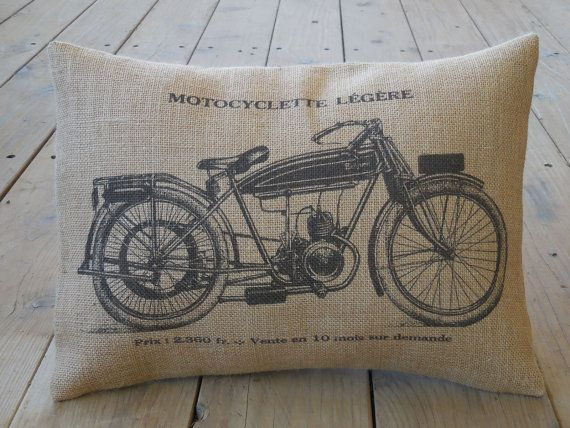 French Motorcycle Burlap Pillow Vintage by PolkadotApplePillows
