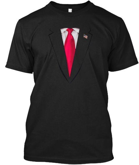 Usa President Trump Suit T Shirt Black T-Shirt Front