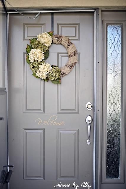 Front door color and pretty wreath.