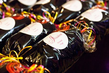 Favors: uniquely wrapped sweatshirts for guests
