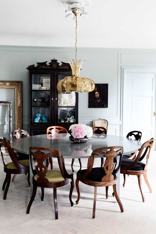 """The new bohemian""- hodge podge selected, cross decade collected, color festive house attire. I couldnt be more in love with this dining area. the chairs are PHENOMENAL and the art and assembly of the room is just dandy!"