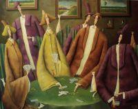 Лешек СОКОЛ - Когда зеленый стол - холст, масло, 73x92