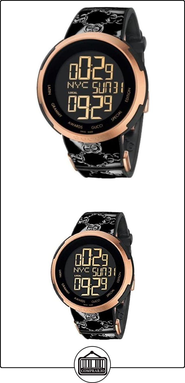 Gucci YA114102 - Reloj digital (mecanismo de cuarzo, cristal de zafiro antirreflejos), color negro y dorado rosáceo  ✿ Relojes para hombre - (Lujo) ✿