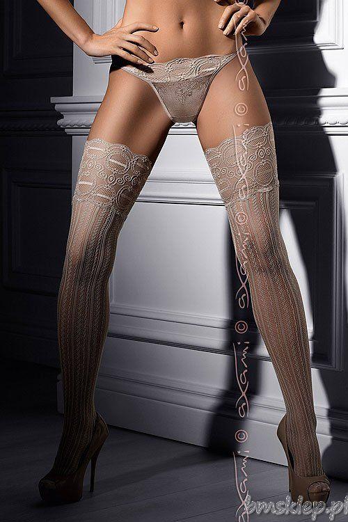 Zmysłowe #pończochy z ażurowego materiału w kolorze beżu Sensual beige #open-work  #stocking