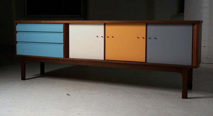 Vintage Sideboard / Drinks Cabinet Retro Bespoke Upcycled Industrial Minimalist What about this for the Sitting room instead of a bookcase?  could change the door colours if you wanted...