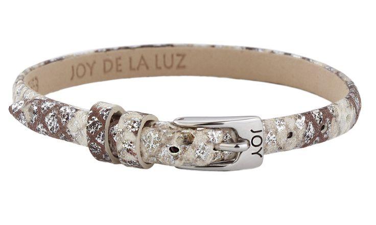 Joy de la Luz | Leather buckle bracelet python silver 23cm