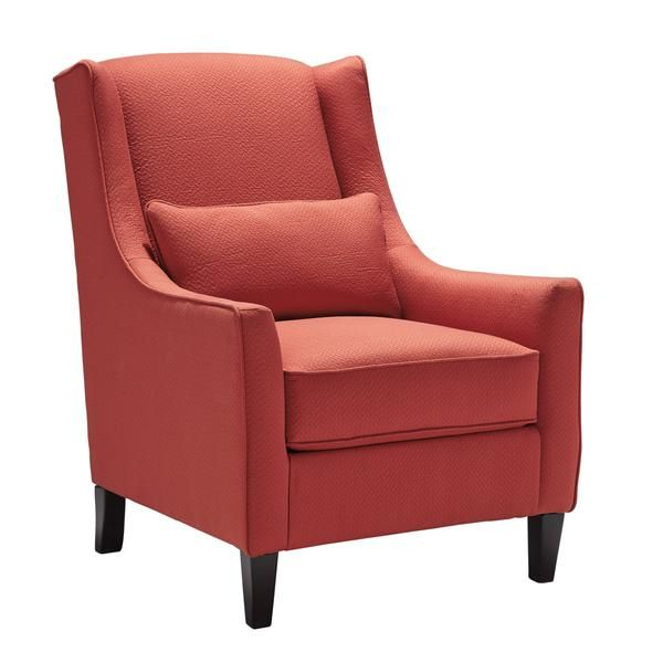 "Coral Chair mixes it up by merging a classic profile with cool color and modern flair. Sheltering club chair design is so retro chic. Geometrically patterned upholstery in coral and sand hues is a wonderfully unexpected twist.  DIMENSIONS  31"" W x 38"" D x 43"" H"