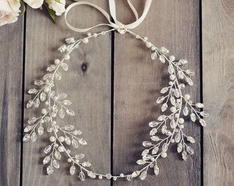 bridal hair vine wedding accesories crystal by JoannaReedBridal