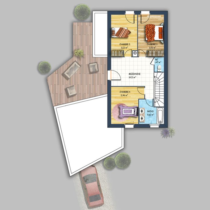 25 best plan maison images on Pinterest House blueprints, Bedroom