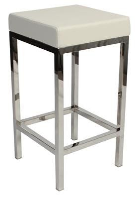 """Albany"" Stainless Steel Frame Backless Padded Bar Stool in White - AU$119 - https://www.simplybarstools.com.au/products/albany-stainless-steel-frame-backless-padded-bar-stool-in-white – Simply Bar Stools  - steel, backless, fixed leg, bar stools. #Australia #Furniture"