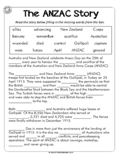 The Anzac Story Cloze Passage Cloze Worksheets Cloze