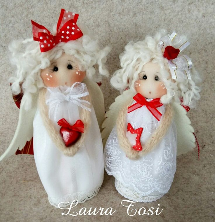 Teneri angioletti by Laura Tosi www.facebook.com/fattoconamorelaura #cucitocreativo #cucitoamano #artesanato #creativas #creativemamy #angel #christmas #natale #fattoconamoredalaura