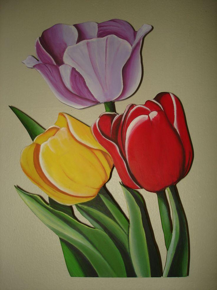Aplique de tulipanes para la pared