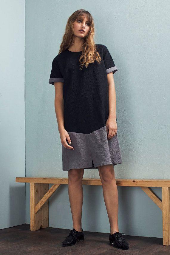 Button back dress - Knit dress - Fall dress - Loose dress - A-line dress - Sweater dress - Knee length dress - Pullover dress - Tamar dress
