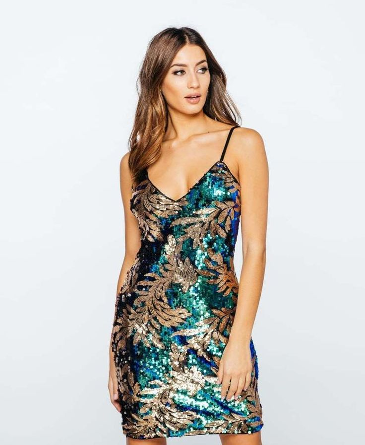 NEW LADIES GREEN GOLD SEQUIN LEAF PRINT CAMI DRESS PARTY OCCASION 8 to 14