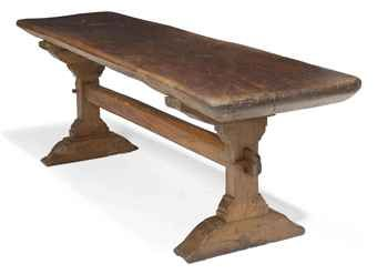ELIZABETHAN OAK TRESTLE TABLE LATE 16TH CENTURY With Thick Single Plank Top  Supported On Trestle