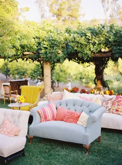 Dress up your ceremony site with eclectic seating.
