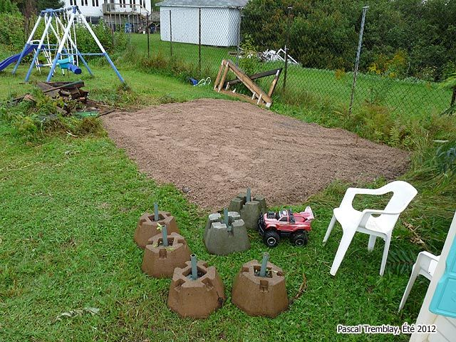 Wood shed Plan - Deck piers - concrete piers. Instructions: http://www.usa-gardening.com/wood-shed/wood-shed.html
