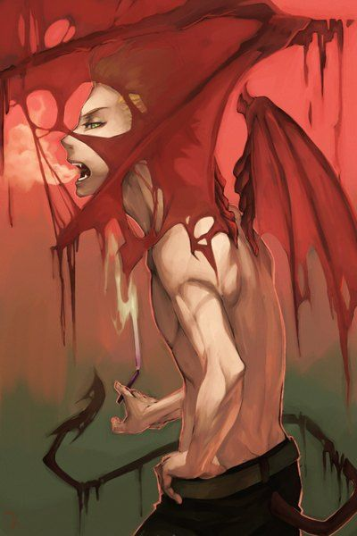 Anime picture 				1000x1500 with  		yondemasu yo, azazel-san 		azazel 		chongcao 		single 		short hair 		tall image 		open mouth 		blonde hair 		looking at viewer 		green eyes 		simple background 		profile 		tail 		back 		topless 		smoke 		hand on hip 		smoking 		demon tail 		demon wings
