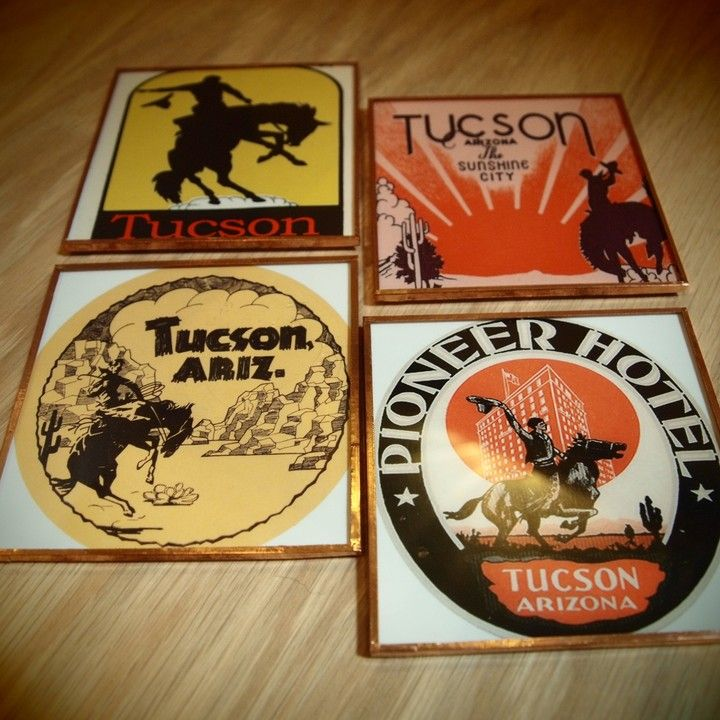 Tucson Luggage Tag Coaster Set from Pop-Cycle Shop! for $28.00 - 76 Best Images About Tucson Love On Pinterest Map Necklace, Wood
