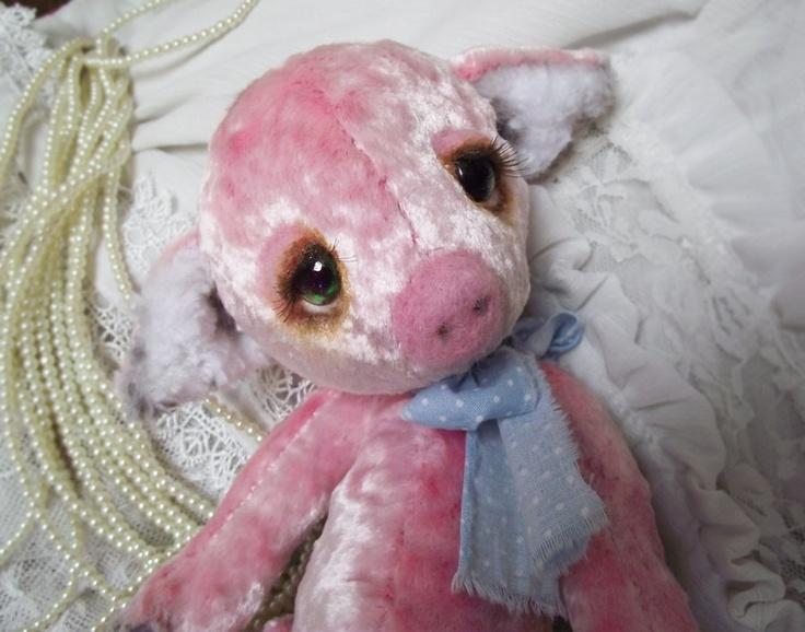 10 inch Veronika Pig Vintage Looking OOAK Artist Bear Pink: Artists Bears, Adoption Artists, Ooak Artists